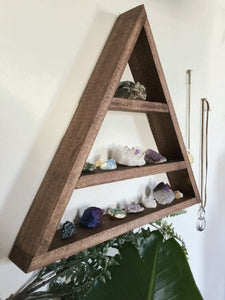 Large Wood Triangle Wall Shelf