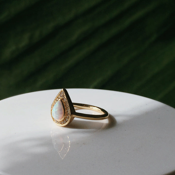 The Starlight Teardrop Opal Ring