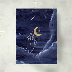 Once in a Blue Moon Celestial Art Print