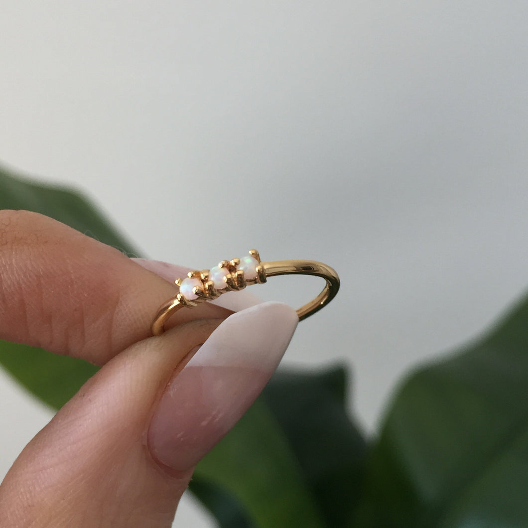 The Mini Triple Opal Stacking Ring