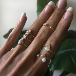 Opal Evil Eye Stackable Ring