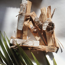 Load image into Gallery viewer, wire wrapped palo santo crystal bundle palm leaf bohemian minimalist gemstones points