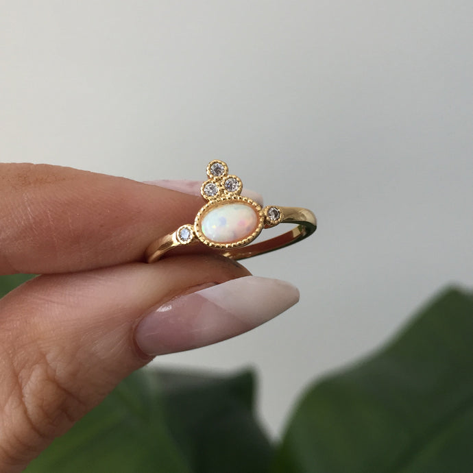 Oval Opal Princess Ring