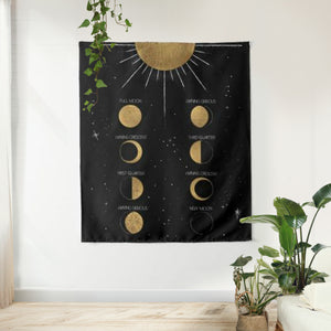 Moon Phase Calendar Tapestry