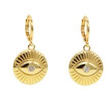 Load image into Gallery viewer, Evil Eye Mini Hoop Earrings