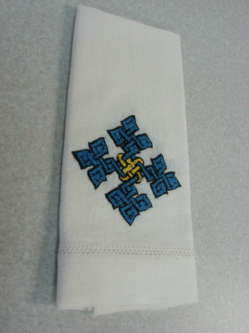 Dark Blue Hand-Embroidered Hand Towel