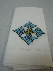 Light Blue Hand-Embroidered Hand Towel