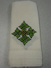 Light Green Hand-Embroidered Hand Towel