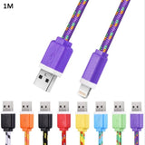 1M Colorful Nylon Braided 8 Pin Transfer Data Sync Cable Charging Cord Line For Iphone
