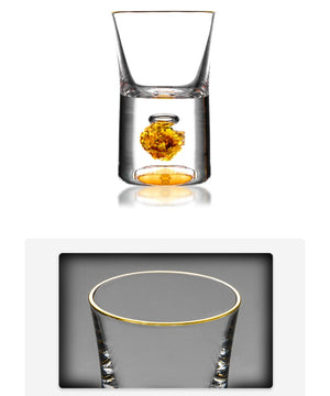 Top pure crystal shot glass and plot built in pure Gold leaf