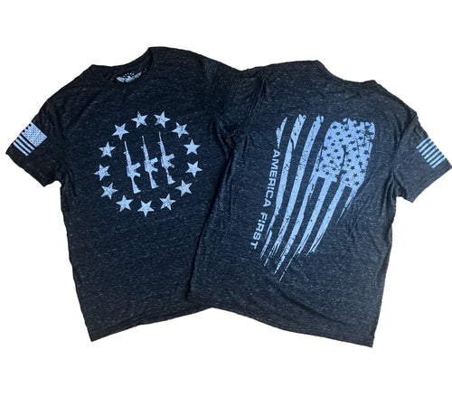 3 Three Guns America First Heather Charcoal Unisex T-shirt