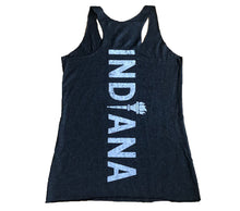 Load image into Gallery viewer, Indiana Back Home Vintage Black Ladies' Racerback Tank