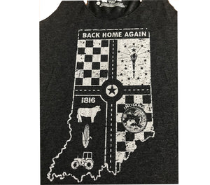 Indiana Back Home Vintage Black Ladies' Racerback Tank