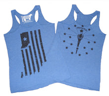Load image into Gallery viewer, Indiana Double Vintage Blue Ladies' Racerback Tank