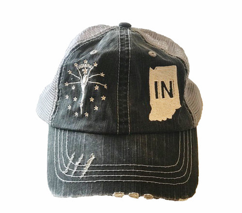 Indiana Distressed Charcoal Baseball Cap