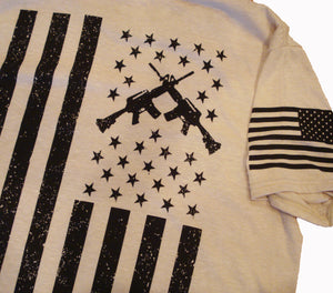 Rifle Flag Freedom Oatmeal Unisex T-shirt