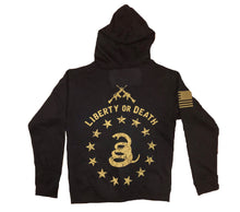Load image into Gallery viewer, Liberty or Death Heavy-Weight Unisex Zip Up Black Hoodie