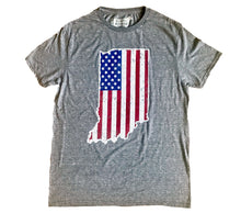 Load image into Gallery viewer, American Flag Indiana Shape Unisex T-shirt