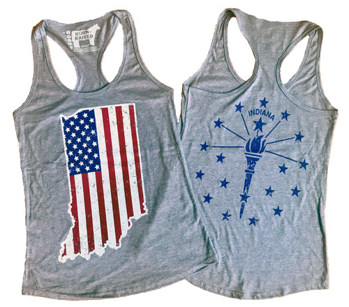 Indiana American Flag Ladies' Racerback Tank