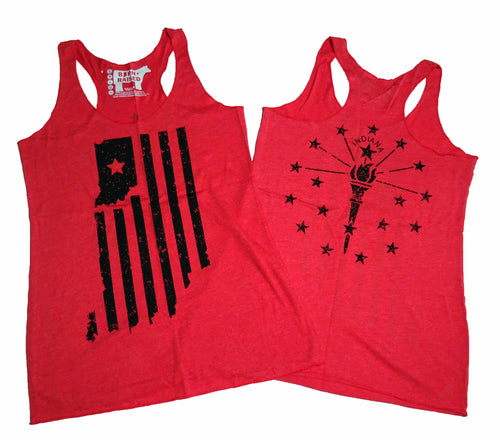 Indiana Double Vintage Red Ladies' Racerback Tank