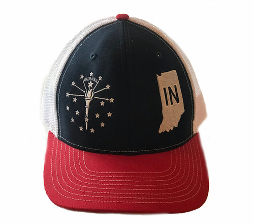 Red White & Blue Indiana Snap Back Hat