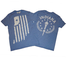 Load image into Gallery viewer, Indiana Double Heather Blue Unisex T-shirt