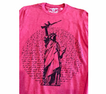 Load image into Gallery viewer, Statue of Liberty Gun Unisex Heather Red T-shirt