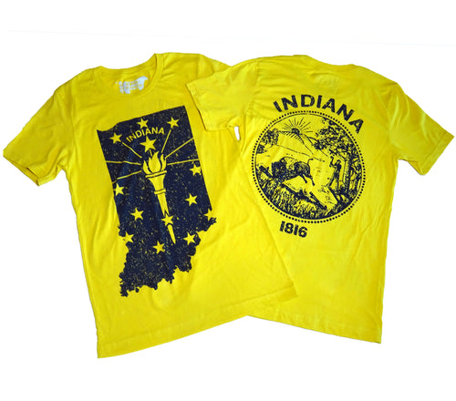 Indiana Yellow Shape Flag & Seal Unisex T-shirt