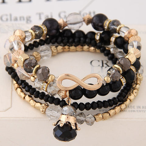 Multi-Layer Crystal Bead Bracelet Set