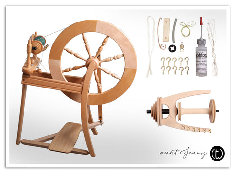 Ashford Tradition wheel with a maintenance kit and spare parts