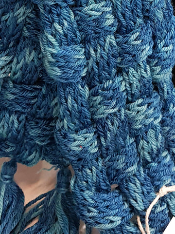 closeup of woven french knitted scarf