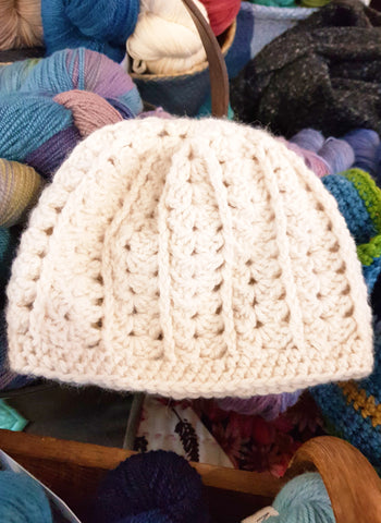 A gorgeous crochet beanie made form Jennifer's yarn range.