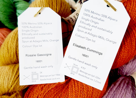 Jennifer has named all the colours in her yarn range after Female Australian Painters as seen here on the labels.