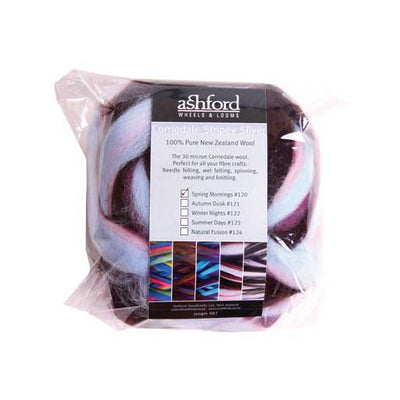 Corriedale Stripey Sliver 100g packs