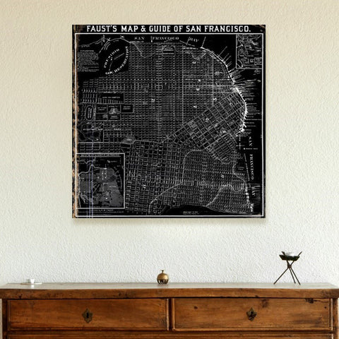 Fausts Map of San Francisco 1882 Canvas Art