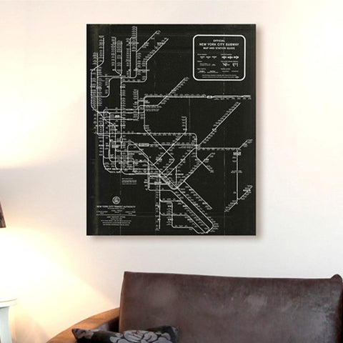 New York Subway Map 1958 Canvas Art