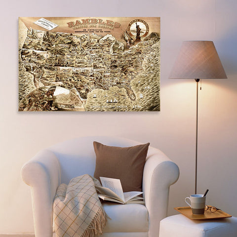 Rambles Through Our Country 1886 Map Canvas Art