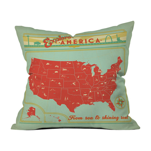 Explore America by Anderson Design Group Throw Pillow