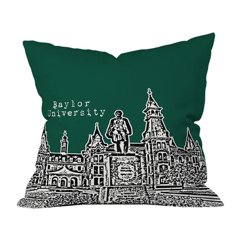 Baylor University Green Throw Pillow by Bird Ave