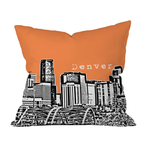 Denver Orange Throw Pillow by Bird Ave