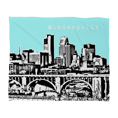 Minneapolis Sky Fleece Throw Blanket by Bird Ave