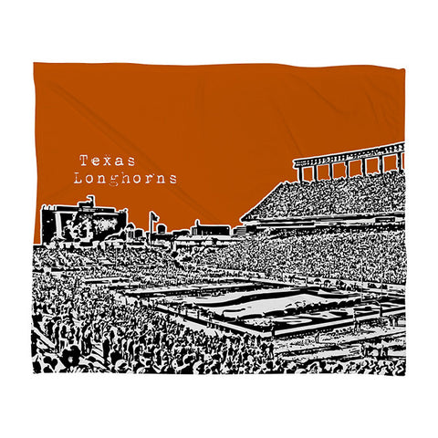 Texas Longhorns Orange Fleece Throw Blanket by Bird Ave
