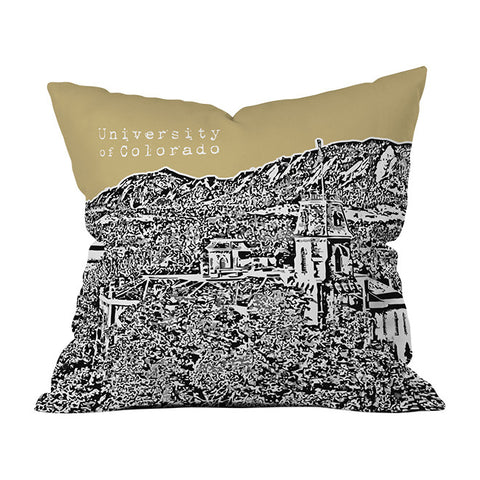University Of Colorado Yellow Throw Pillow by Bird Ave