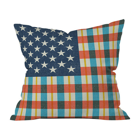 Plaid Flag Throw Pillow by Nick Nelson