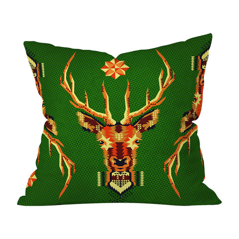 Geometric Deer by Chobopop Throw Pillow