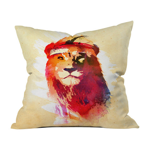 Gym Lion Throw Pillow by Robert Farkas