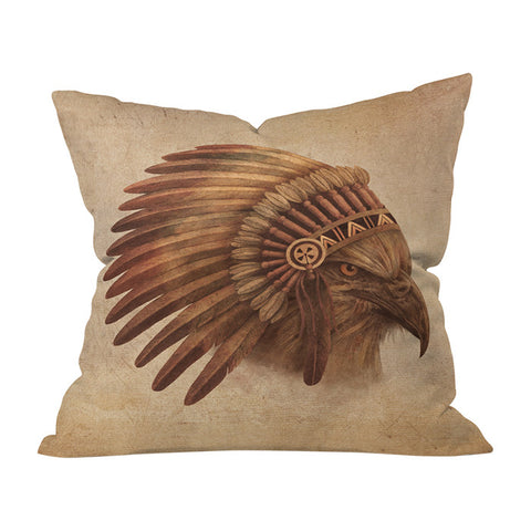 Eagle Chief by Terry Fan Throw Pillow