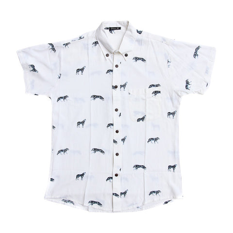Wolf S/S Shirt in Off White