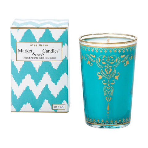Moroccan Tea Glass Candle, Aqua Henna, Set Of 2