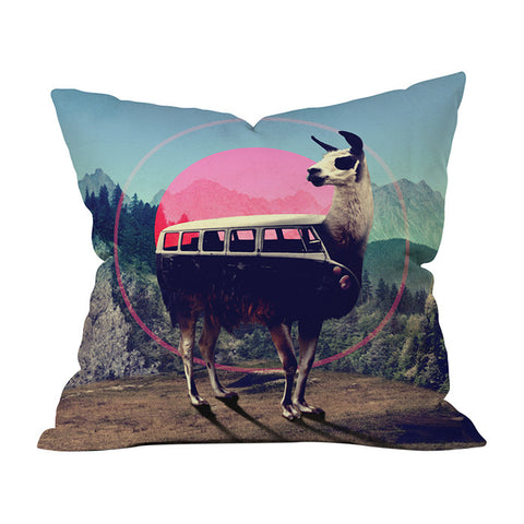 Llama Van by Ali Gulec Throw Pillow